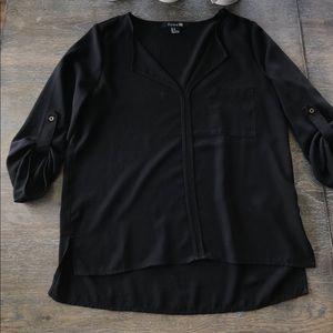 Forever 21 Medium black 3/4 sleeve chiffon top